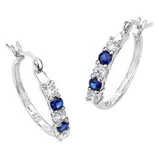 Shop Miadora Sterling Silver Created Blue Sapphire