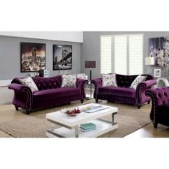 Purple Tufted Sofa Set Large Recliner Baci Living Room