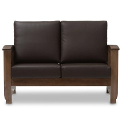 Mission Brown Leather Sofa Faux Durability Style Bed Voorhees Craftsman Oak