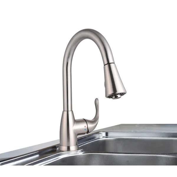 stainless steel kitchen faucet with pull down spray backsplash cost shop century home living single handle sprayer