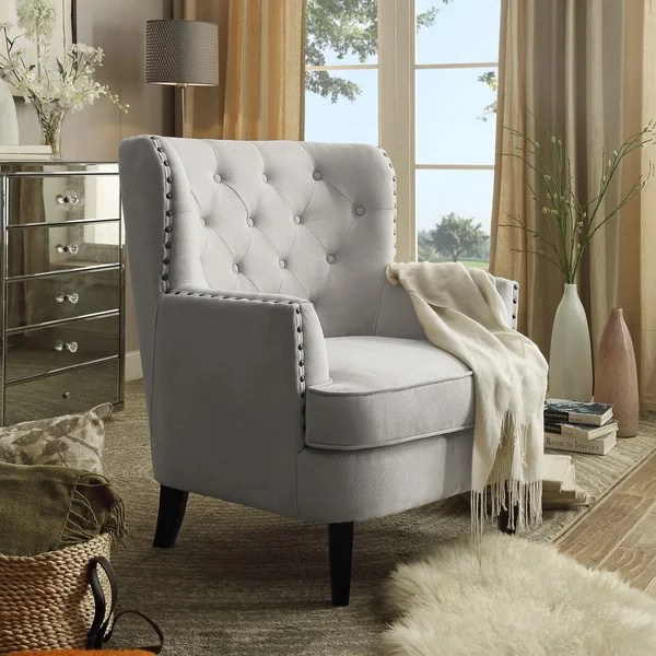 upholstered chair with nailhead trim high back leather shop tufted armchair free shipping