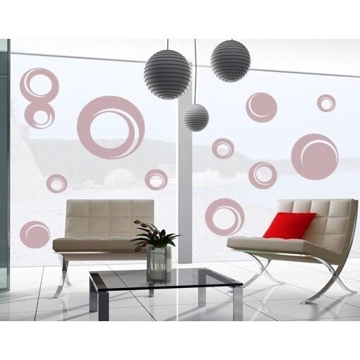 Retro Circles Window Glass Decal Vinyl Wall Art Home Decor