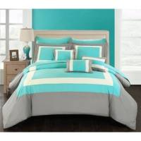Chic Home Kingston 8-Piece Turquoise Bed in a Bag Duvet ...