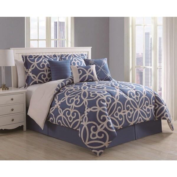 Shop Eliza 7piece Scroll Denim Ivory Comforter Set