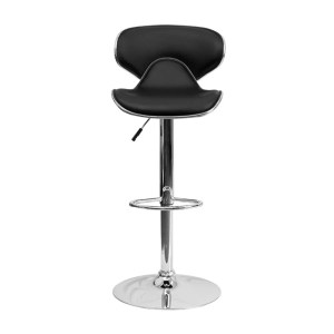 Offex Contemporary Cozy Mid-Back Black Vinyl Adjustable Height Barstool with Chrome Base Chair