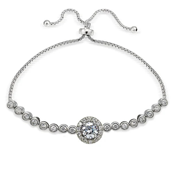 Shop Icz Stonez Sterling Silver Cubic Zirconia Halo