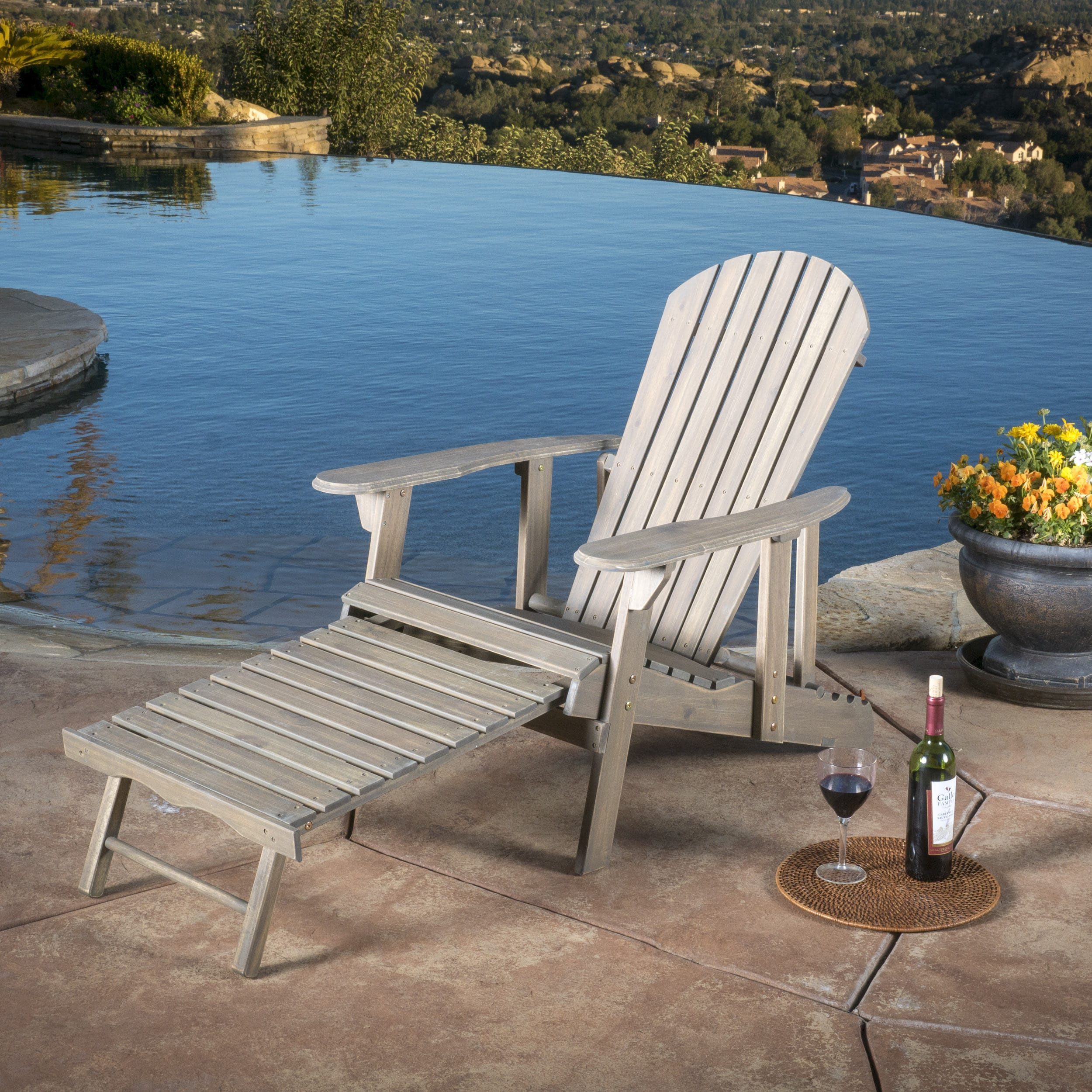 Outdoor Reclining Chair Hayle Outdoor Reclining Wood Adirondack Chair With