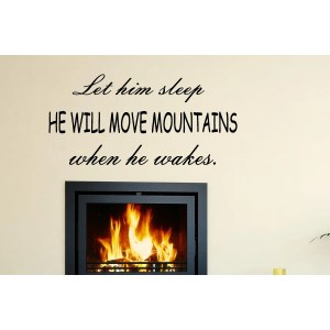 The words He Will Move Mountains Wall Art Sticker Decal