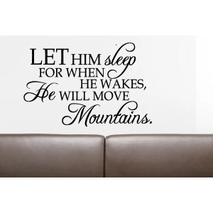Phrase He Will Move Mountains Wall Art Sticker Decal