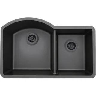 black sink kitchen 12 inch wide cabinet buy drop in sinks online at overstock com our best deals lexicon platinum offset double bowl quartz composite