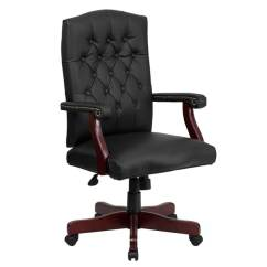 Wood And Leather Executive Office Chairs Outdoor Single Glider Chair Shop Button Tufted Design Black Swivel Adjustable With Mahogany Capped Metal Base