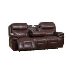 Futura Leather And Vinyl Power Reclining Sofa With Headrest In Stone Black Sleeper Sofas Sale Recliner Furniture For Less Overstock Com Sanford Headrests Usb Ports