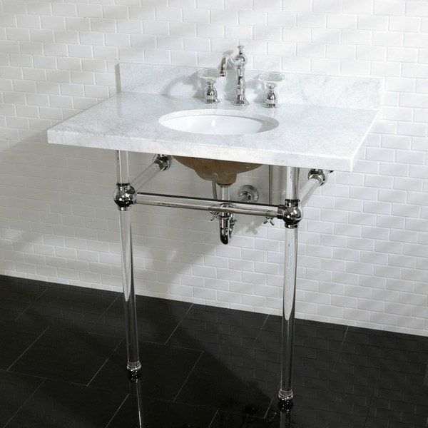 Vintage Carrara Marble 36inch Console Sink and Acrylic
