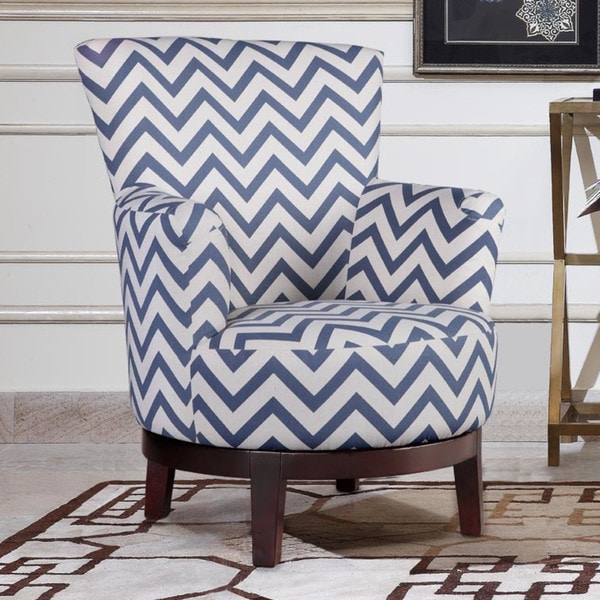 blue pattern accent chair staples mats shop swivel with and white chevron free shipping today overstock com 11685146