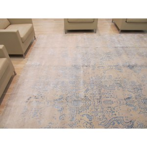 Hand-knotted Wool & Viscose Ivory Contemporary Oriental Erased Rug - 9'2 x 11'9