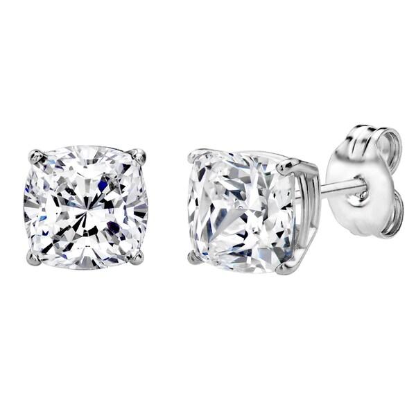 Shop Sterling Silver 2 CTtw 6mm Cushion-cut Stud Earrings