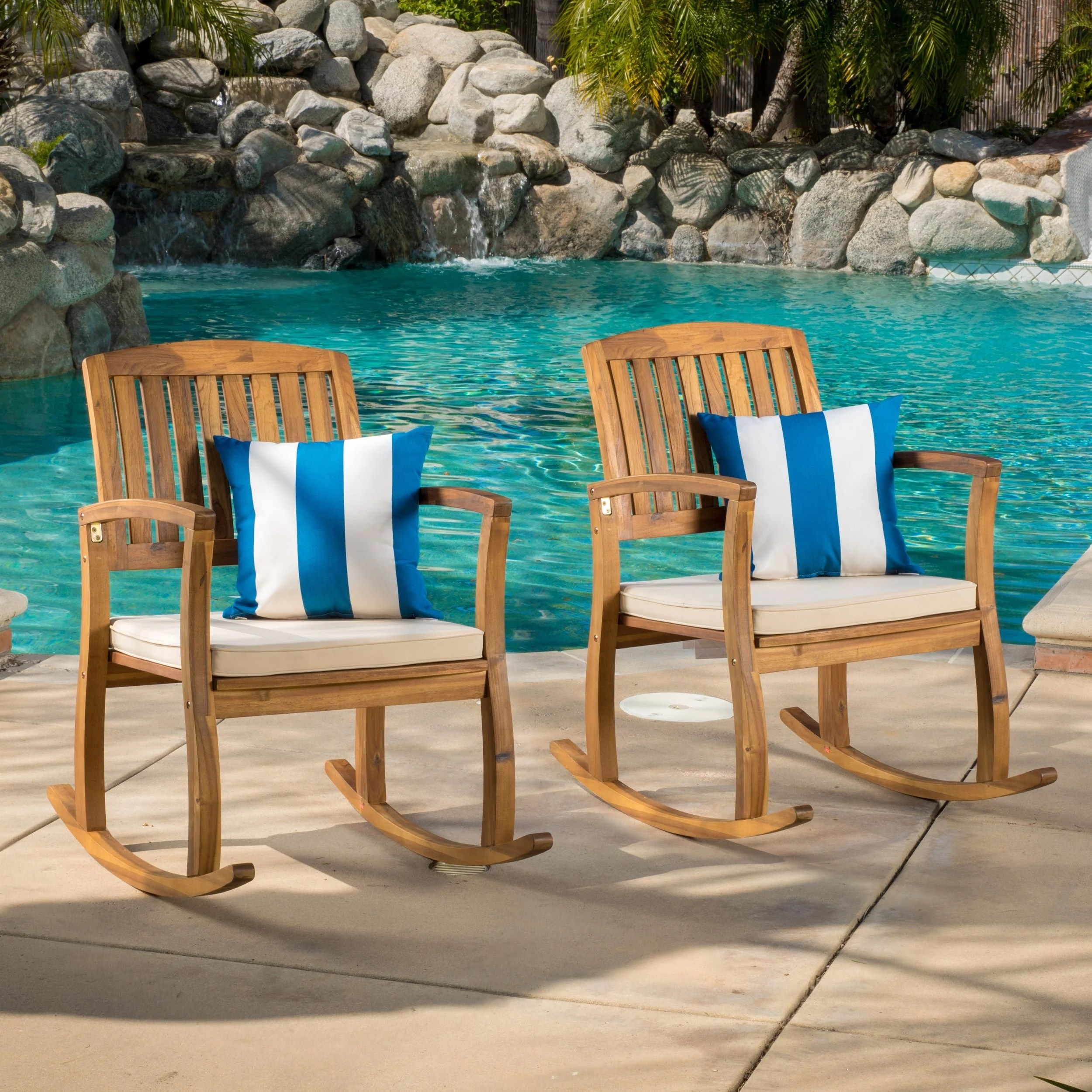 Overstock Rocking Chairs Lucca Outdoor Acacia Wood Rocking Chair With Cushion Set