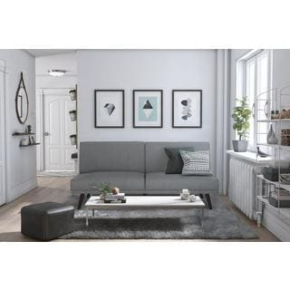futon style living room tile floor shop dhp lone pine grey linen free shipping today overstock com 11706810