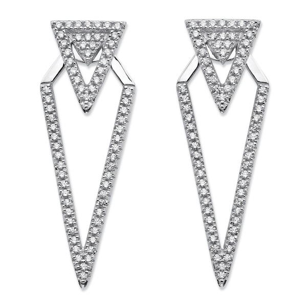 Palmbeach 65 Tcw Micropave Cubic Zirconia 2in1 Triangle