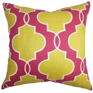 Valda Geometric Down and Feather Filled Throw Pillow with Hidden Zipper Closure 18-inch Pink Yellow