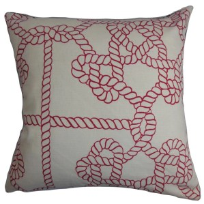 Accalia Nautical Down and Feather Filled Throw Pillow with Hidden Zipper Closure 18-inch Natural Red