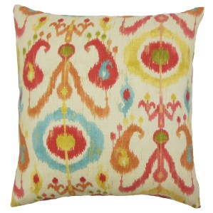 Ikea Ikat Down and Feather Filled Throw Pillow with Hidden Zipper Closure 18-inch Papaya