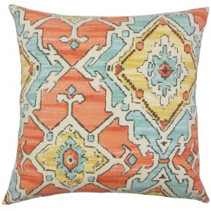Helia Ikat Down and Feather Filled Throw Pillow with Hidden Zipper Closure 18-inch Papaya