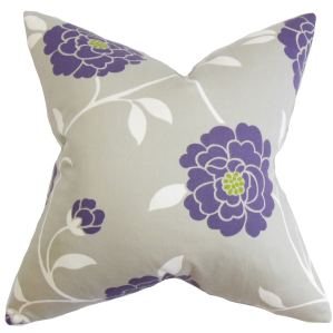 Graziella Floral Down and Feather Filled Throw Pillow with Hidden Zipper Closure 18-inch Purple