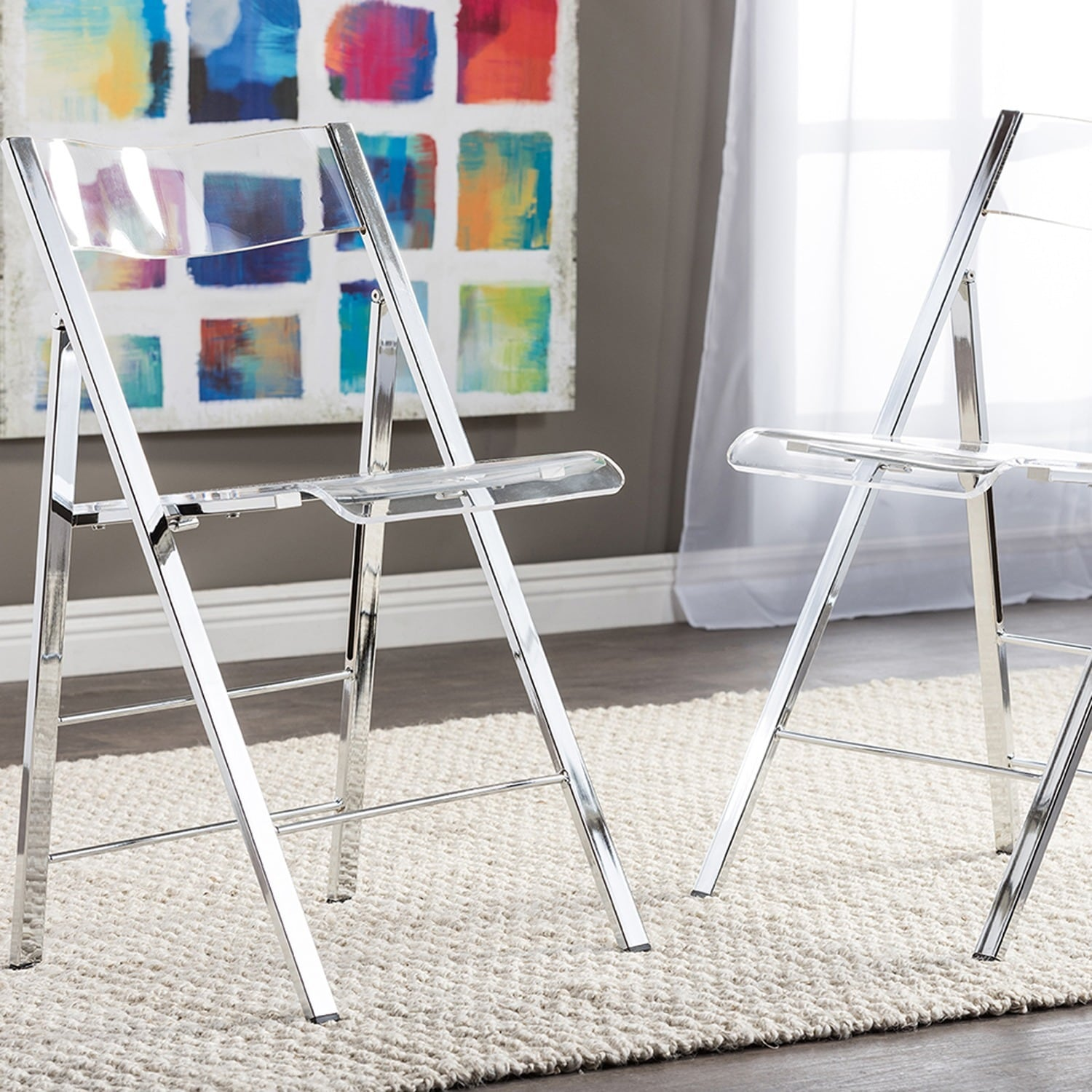 Acrylic Folding Chairs Shop Acrylic Folding Chairs Set Of 2 Free Shipping On