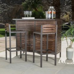 Outdoor High Top Table And Chairs Set Oversized Aluminum Rocking Chair Buy Bistro Sets Online At Overstock Com Our Best Patio Milos 3 Piece Acacia Wood Bar By Christopher Knight Home