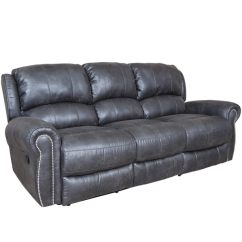 Reclining Sofa With Nailhead Trim Red Italian Leather Shop Porter Stirling Slate Grey Dual Breathable Vegan Alternative And