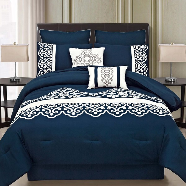 Shop Symphony Royal Blue 8piece Comforter Set  Free