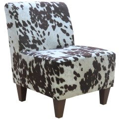 Cowhide Print Accent Chair White Slip Covered Dining Room Chairs Beumont Armless Ebay