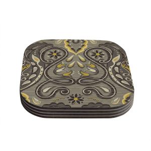 Suzie Tremel 'Vintage Damask' Brown Gold Coasters (Set of 4)