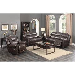 Living Room Reclining Sofas Curtain Valances For Shop Manhattan Dark Brown Bonded Leather 3 Piece Sofa Set With Rocking