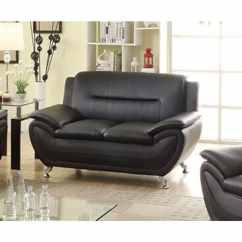 Living Room Loveseat Leather Furniture Ideas Shop Alice Black Faux Modern Ships To