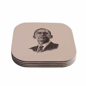 Kess InHouse BarmalisiRTB 'Barack Obama' Brown Gold Coasters (Set of 4)