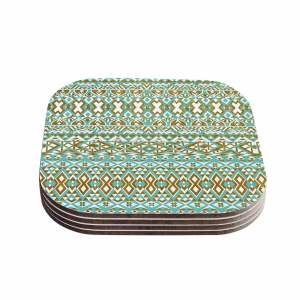 Kess InHouse Pom Graphic Design 'Mint & Gold Tribals' Teal Brown Coasters (Set of 4)