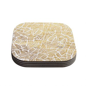 Kess InHouse Pom Graphic Design 'Inca Gold Trail' Yellow Brown Coasters (Set of 4)