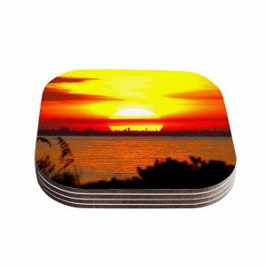 Kess InHouse Philip Brown 'Sunrise On Sanibel' Coral Gold Coasters (Set of 4)