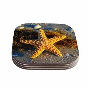 Kess InHouse Philip Brown 'Starfish' Coral Gold Coasters (Set of 4)