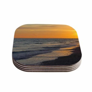 Kess InHouse Philip Brown 'Sunset Beach' Coral Gold Coasters (Set of 4)