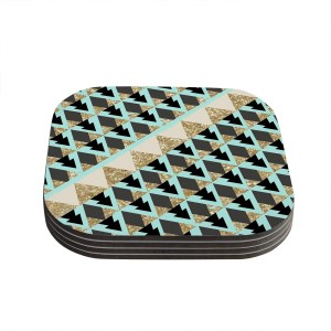 Kess InHouse Nika Martinez 'Glitter Triangles in Gold & Teal' Blue Brown Coasters (Set of 4)