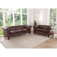 Leather Living Room Furniture Sets Rooms Ideas Modern Buy Brown Online At Overstock Abbyson Grand Chesterfield Top Grain 2 Piece Set