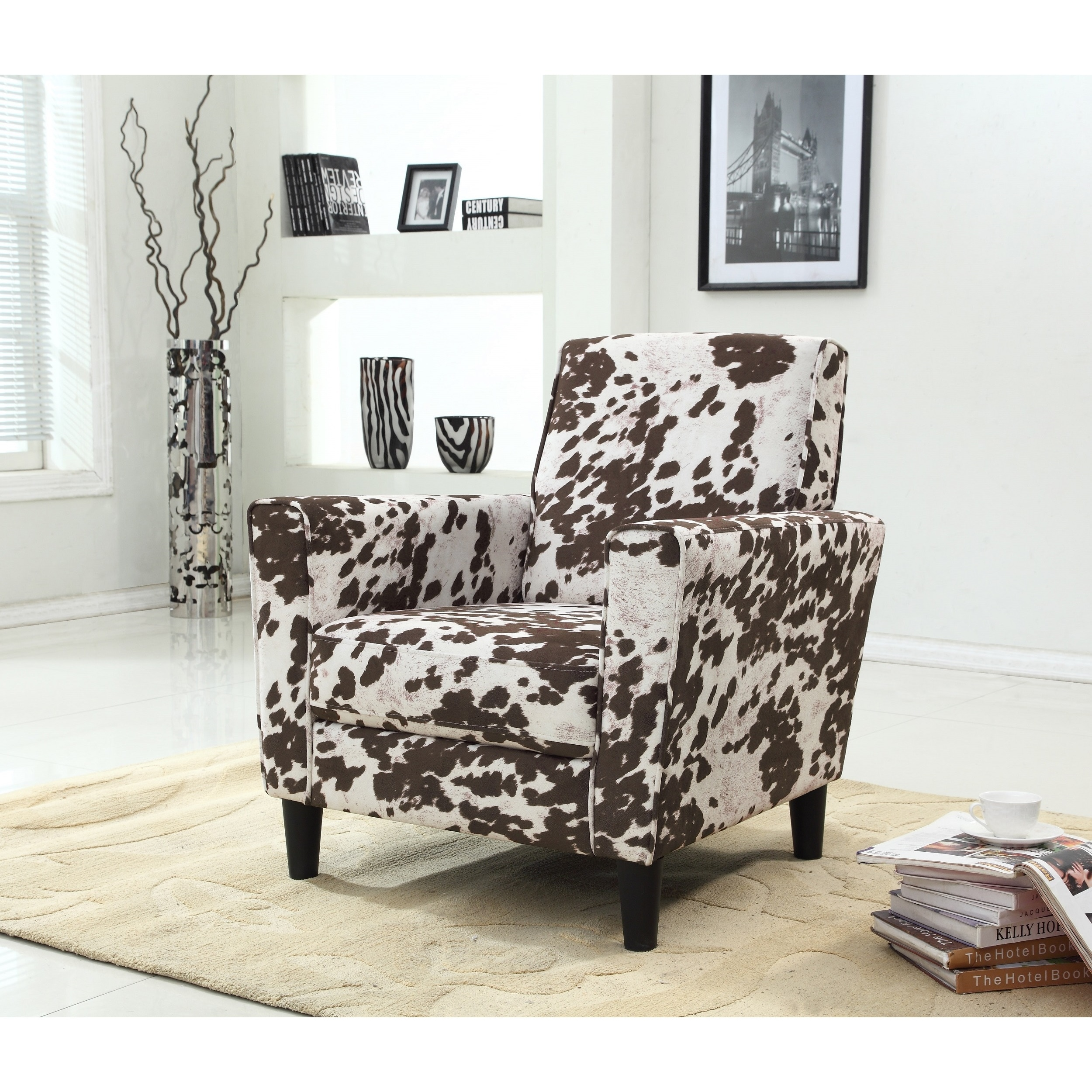 Contemporary Cow Pattern Fabric Accent Chair Overstock 11807577