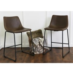 24 Inch Counter Chairs Posture Executive Chair Shop Brown Faux Leather Stools Set Of 2 Free Shipping