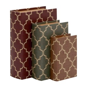 Stylish And Antique Themed Wood Vinyl Book Box (Set Of 3)