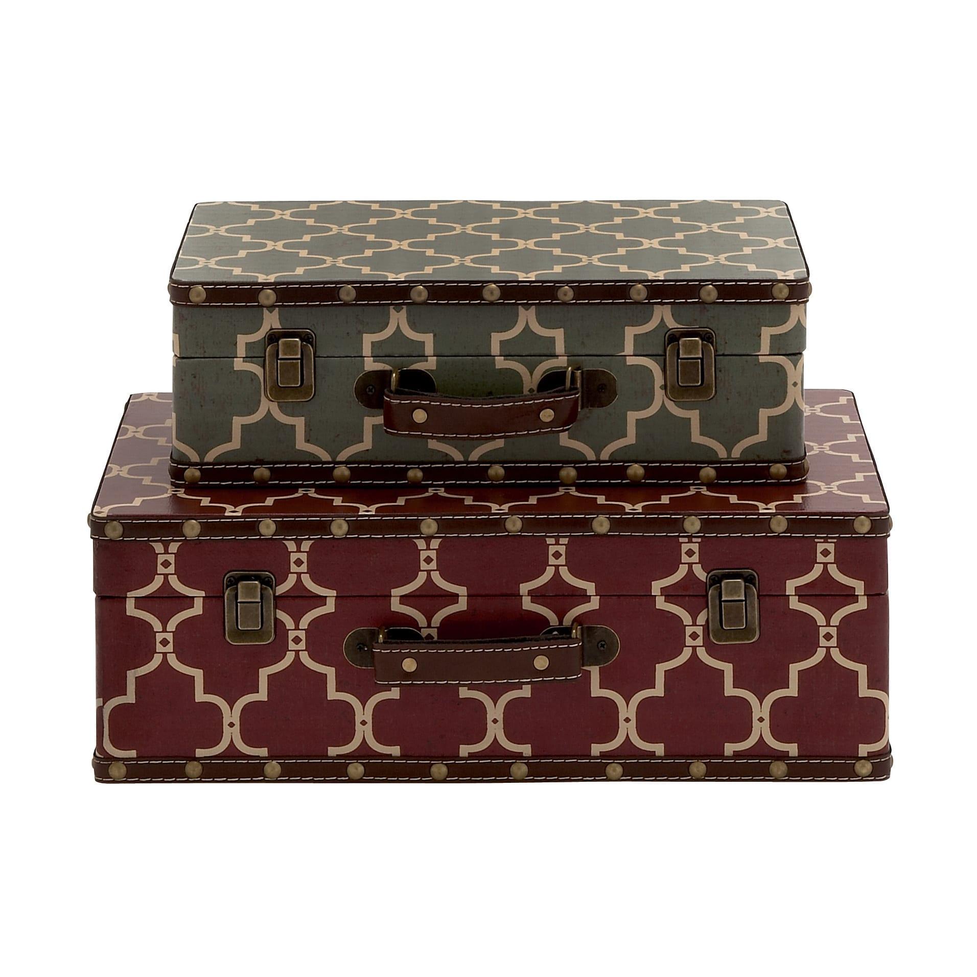 Elegant And Vintage Themed Wood Vinyl Case (Set Of 2)