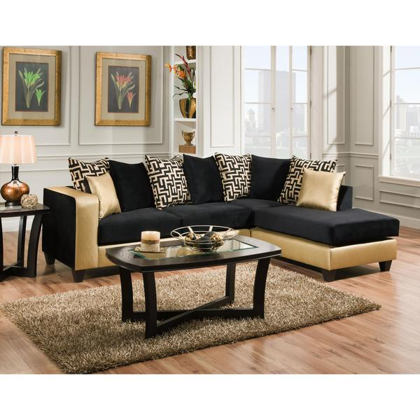 gold sectional sofa biedermeier verkaufen shop trendz melody black microfiber free shipping today overstock com 11836909