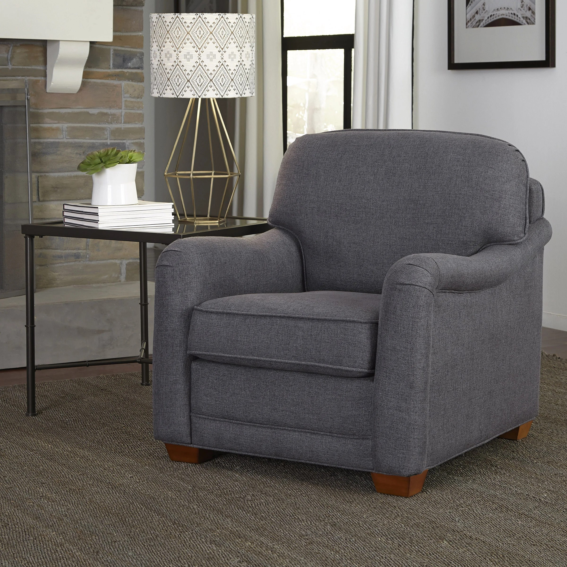 Stationary Chair Details About Magean Grey Upholstered Stationary Chair By Home Styles